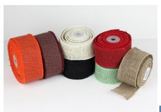 Jute ribbon coloured edge sewn