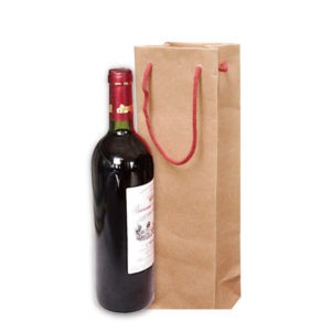 Kraft Paper Bag For Wine With Rope Handles