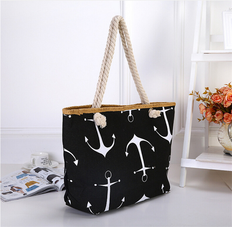 Large Anchor Print Canvas and Hemp Rope Bag