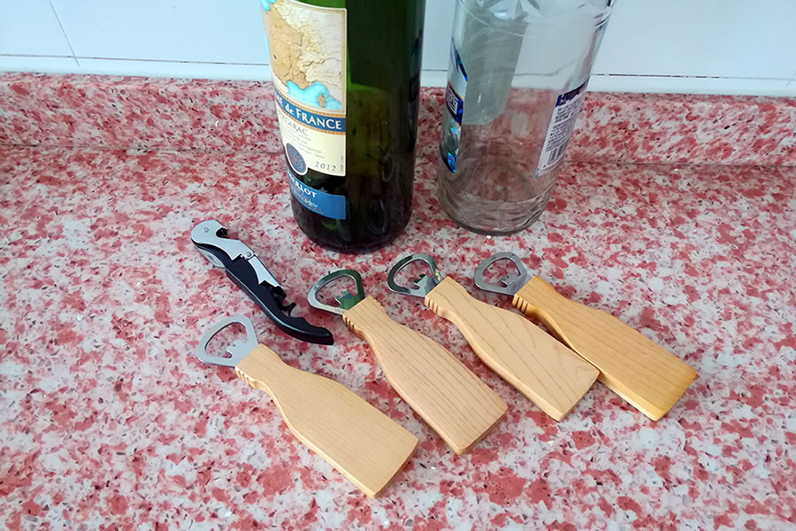 Maple Wooden handle metal bottle opener with magnet