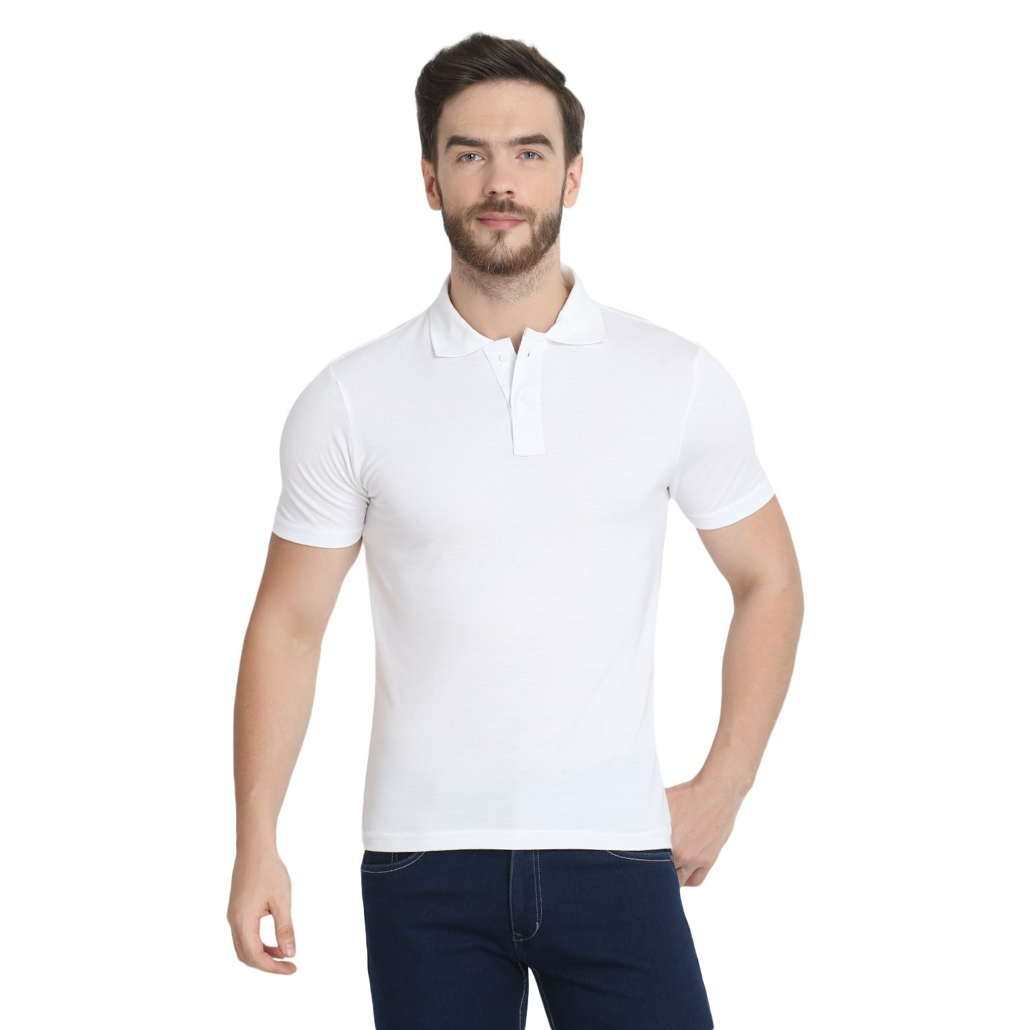 Men's Organic Bamboo Polo Tee White