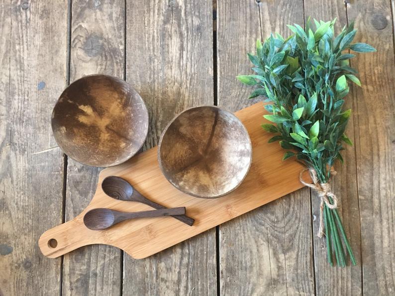 Natural Coconut Bowls - Set Of 2 Bowls & Spoons Set - Snack Serving Dish