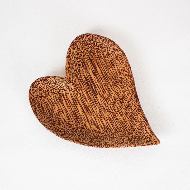 Natural Coconut Wood Heart Shaped Plate