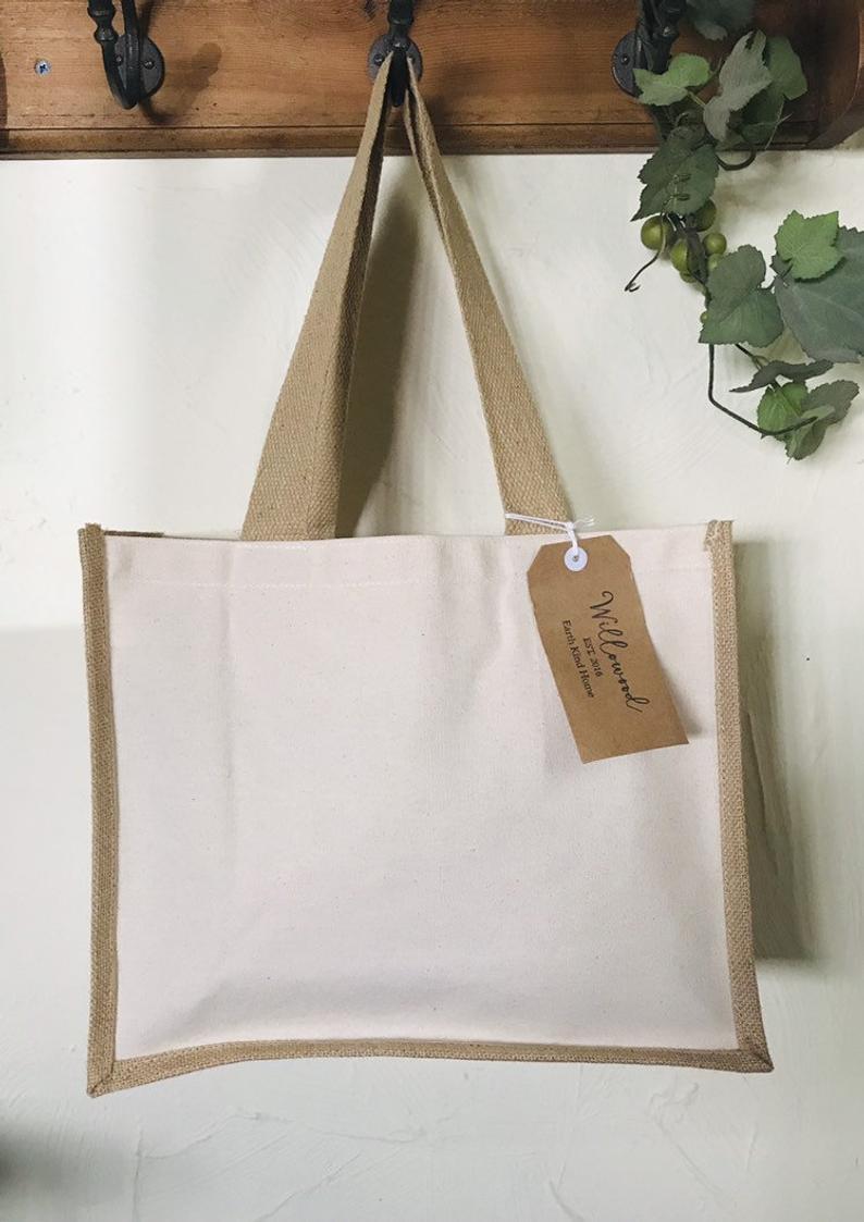 Natural Jute & Canvas Large Reusable Shopper Bag