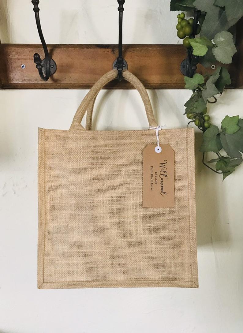 Natural Jute Large Reusable Shopper Bag Eco Friendly Zero Waste Burlap Hessian
