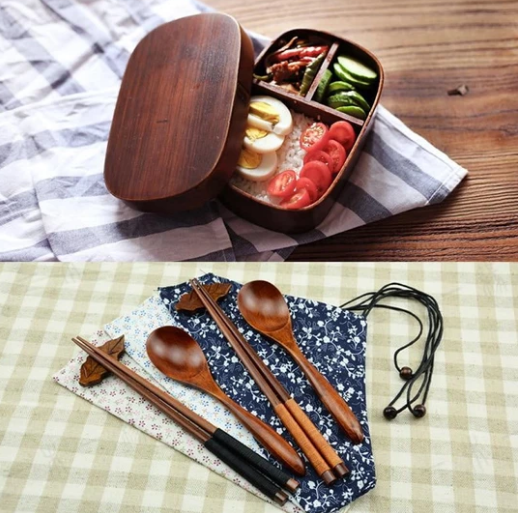 Natural Wood Bento Lunch Box Set