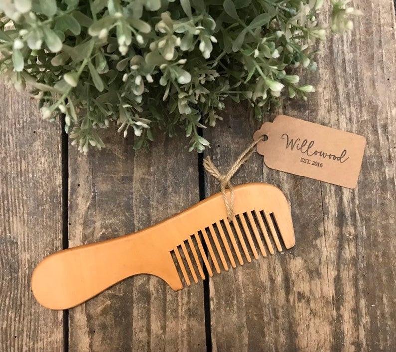 Natural Wooden Comb Hair Unisex Plastic Free Wood Detangling Long Handled