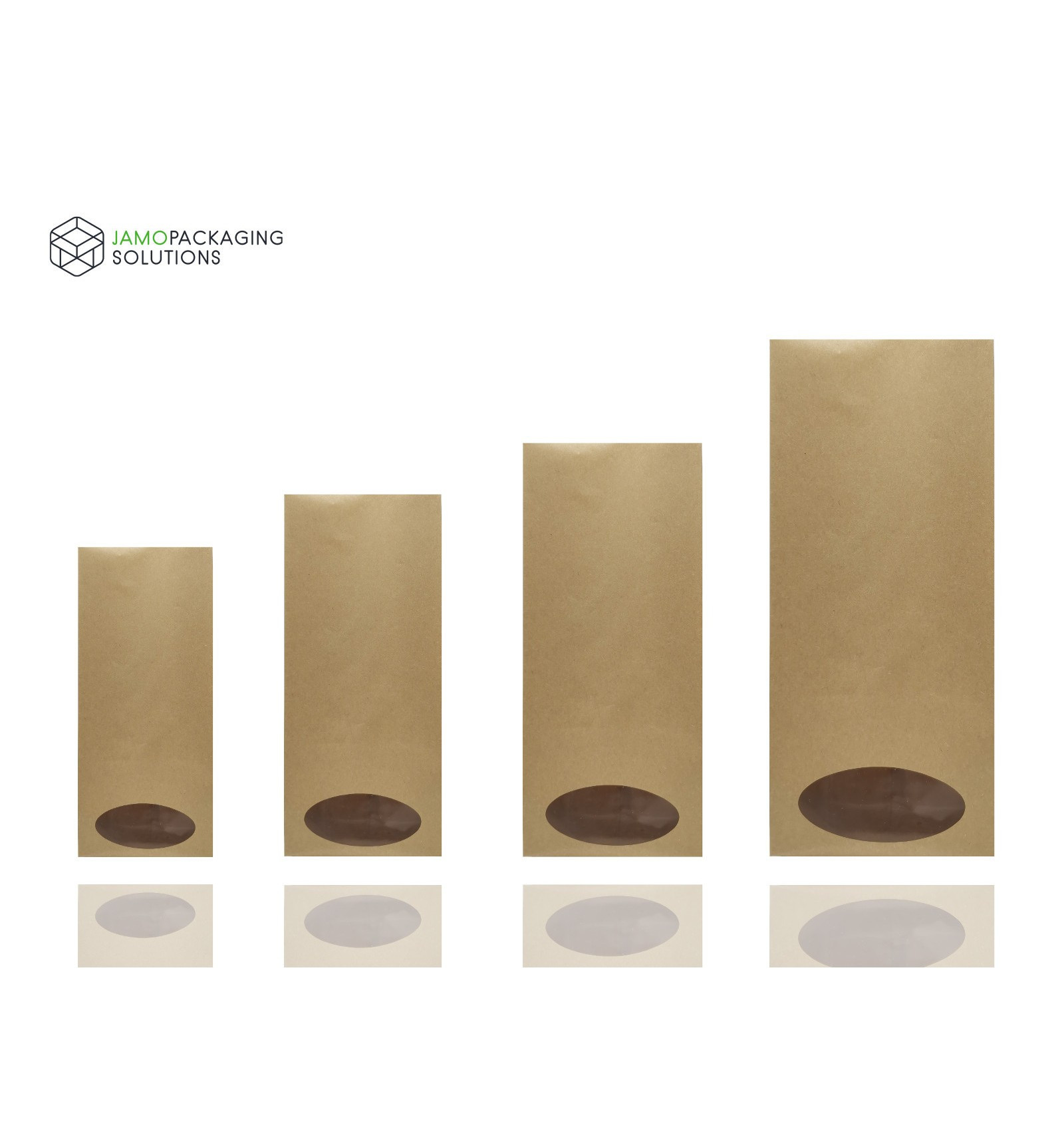 Oval Window Kraft Paper Side Gusset Bag Heat Seal Natural Look