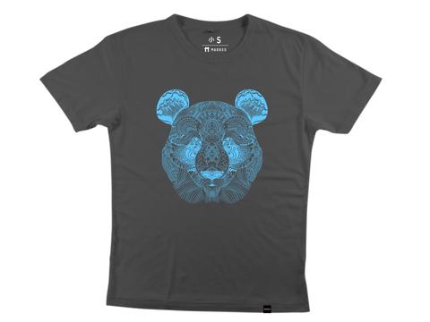 Panda Face Charcoal/Cyan Bamboo T-Shirt