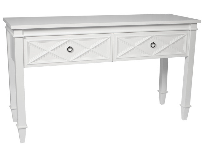 Plantation Console Table - White 137x45x80cmh