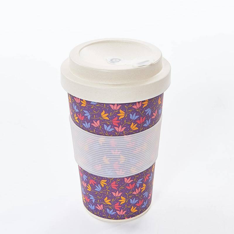PURPLE DITSY DOODLE BAMBOO CUP PACK OF 3
