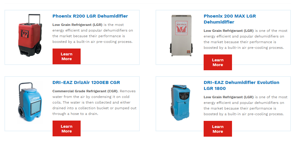 Rental of Dehumidifiers