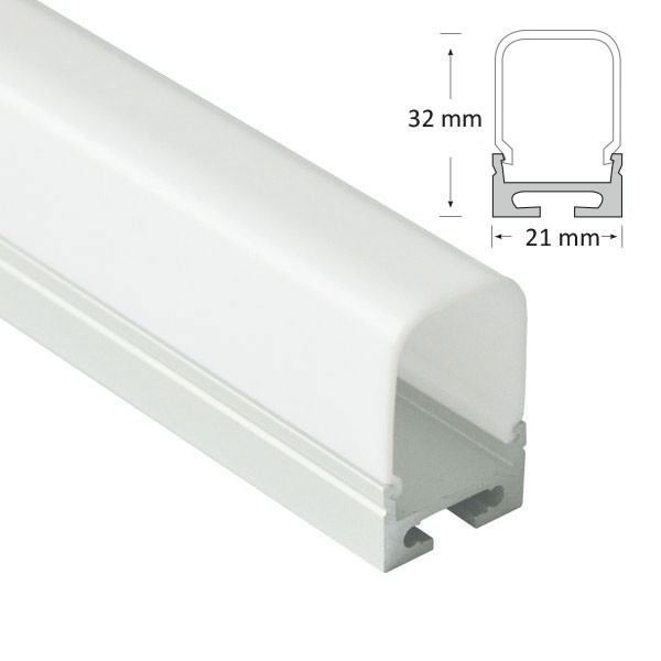 Semi Recessed/Suspended Extrusion with Deep Rounded Rectangular Diffuser