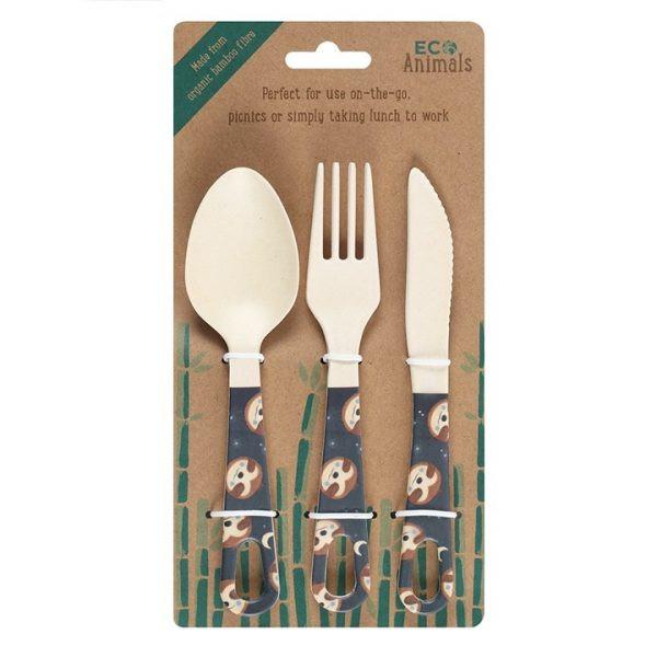 'Sidney Sloth' Bamboo Cutlery