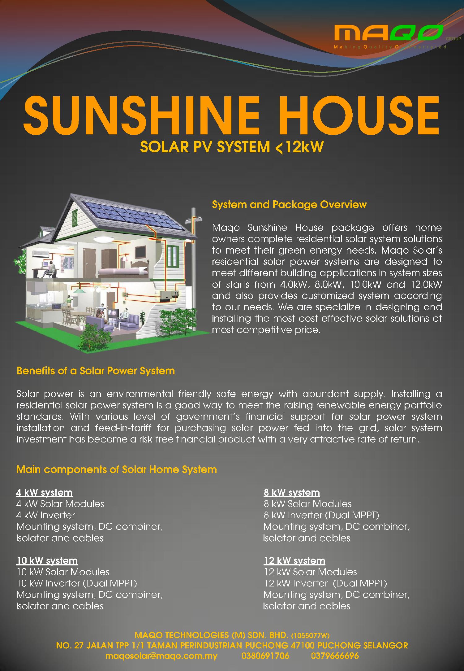 Solar Pv system<12kW Residential