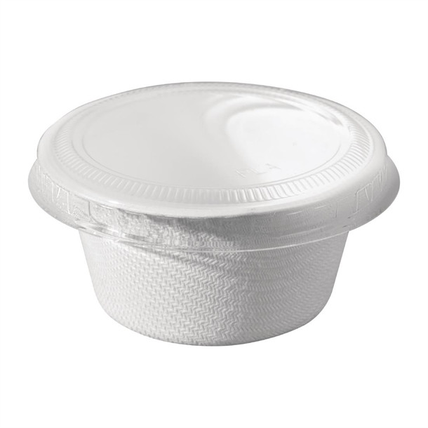 Solia Bagasse Sauce Pot with PLA Lid 60ml (Pack of 50)
