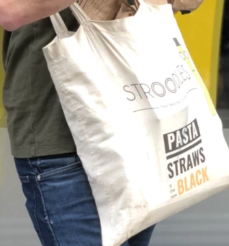 """Stroodles """"Pasta Straws Is The New Black"""" Tote Bag"""