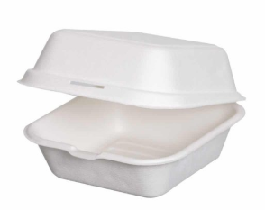 Sustain Bagasse 6×6″ Square Clamshell – 6 x 6″ / 16oz / 450ml