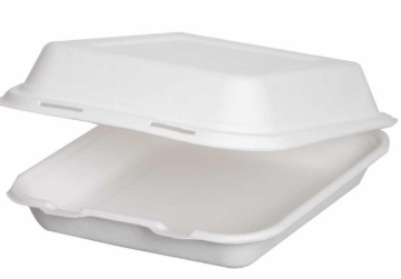 Sustain Bagasse 8×8″ Square Clamshell – 34oz / 1000ml