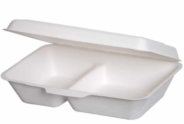 Sustain Bagasse 9×6″ Rectangular Clamshell – 2 Compartments