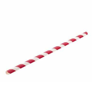 Sustain Red Paper Stripe Straw 8″ / 6mm Bore