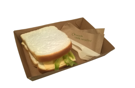TRAY LARGE KRAFT – COMPOSTABLE CARDBOARD TRAY 22X15X5CMS