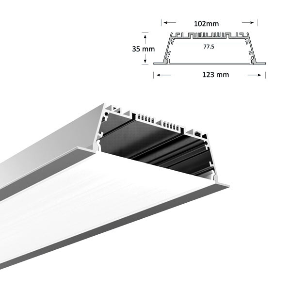 Ultra Wide Low Profile Recessed Extrusion