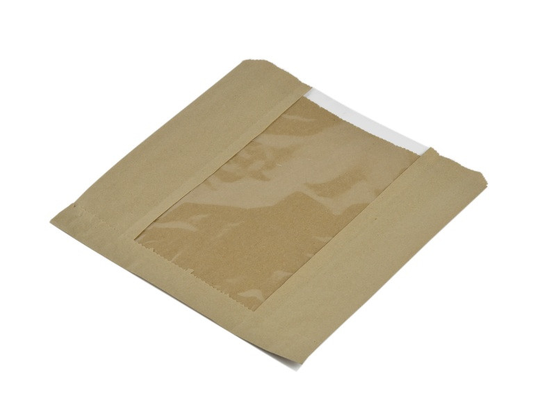 Vegware 8.5 x 8.5in kraft PLA window bag