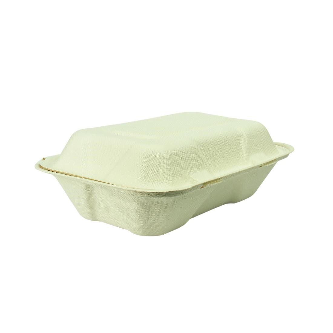 Vegware Compostable Bagasse Clamshell Hinged Meal Boxes 228mm