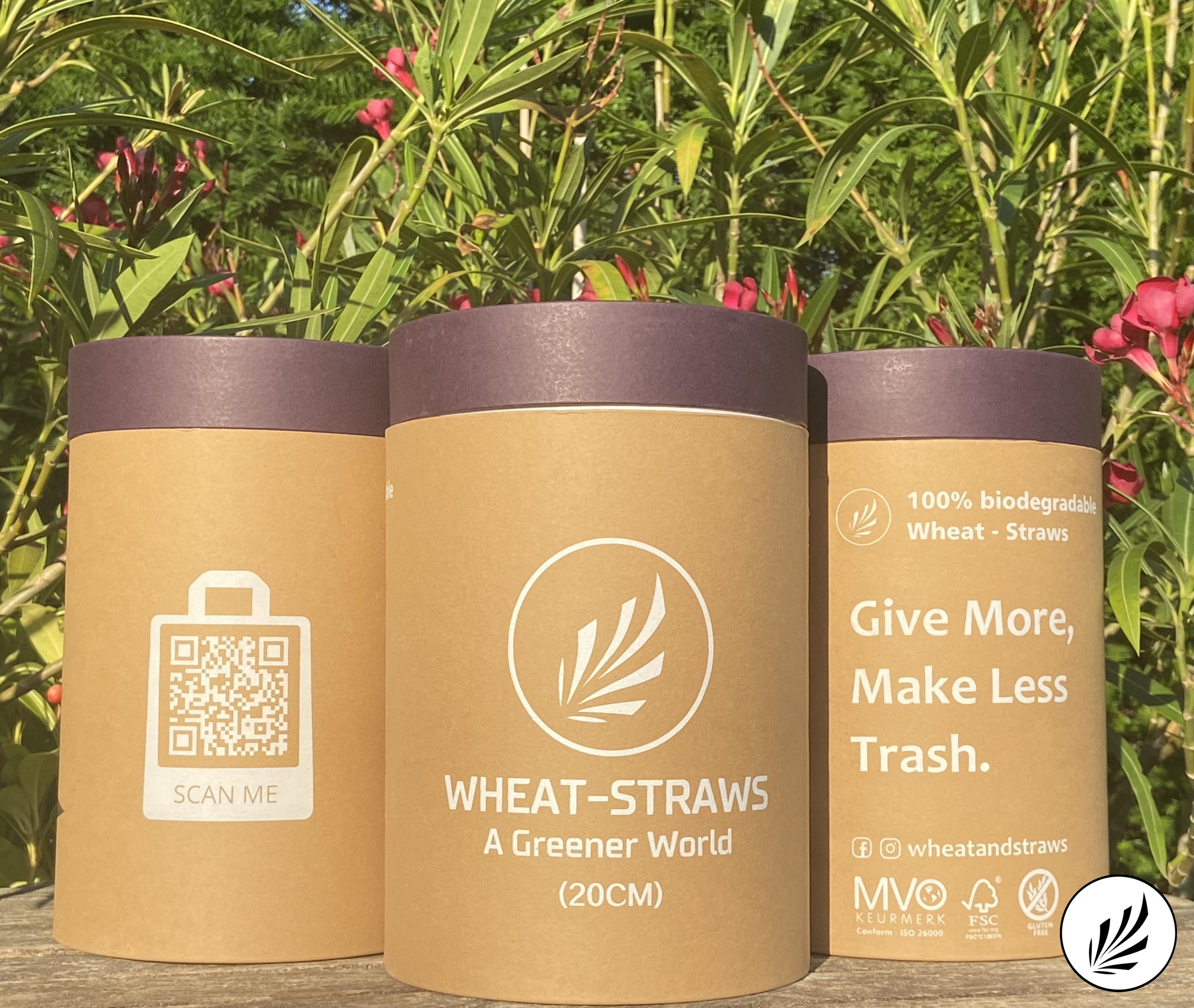 ECO Wheat drinking straw - 20cm - 500pcs