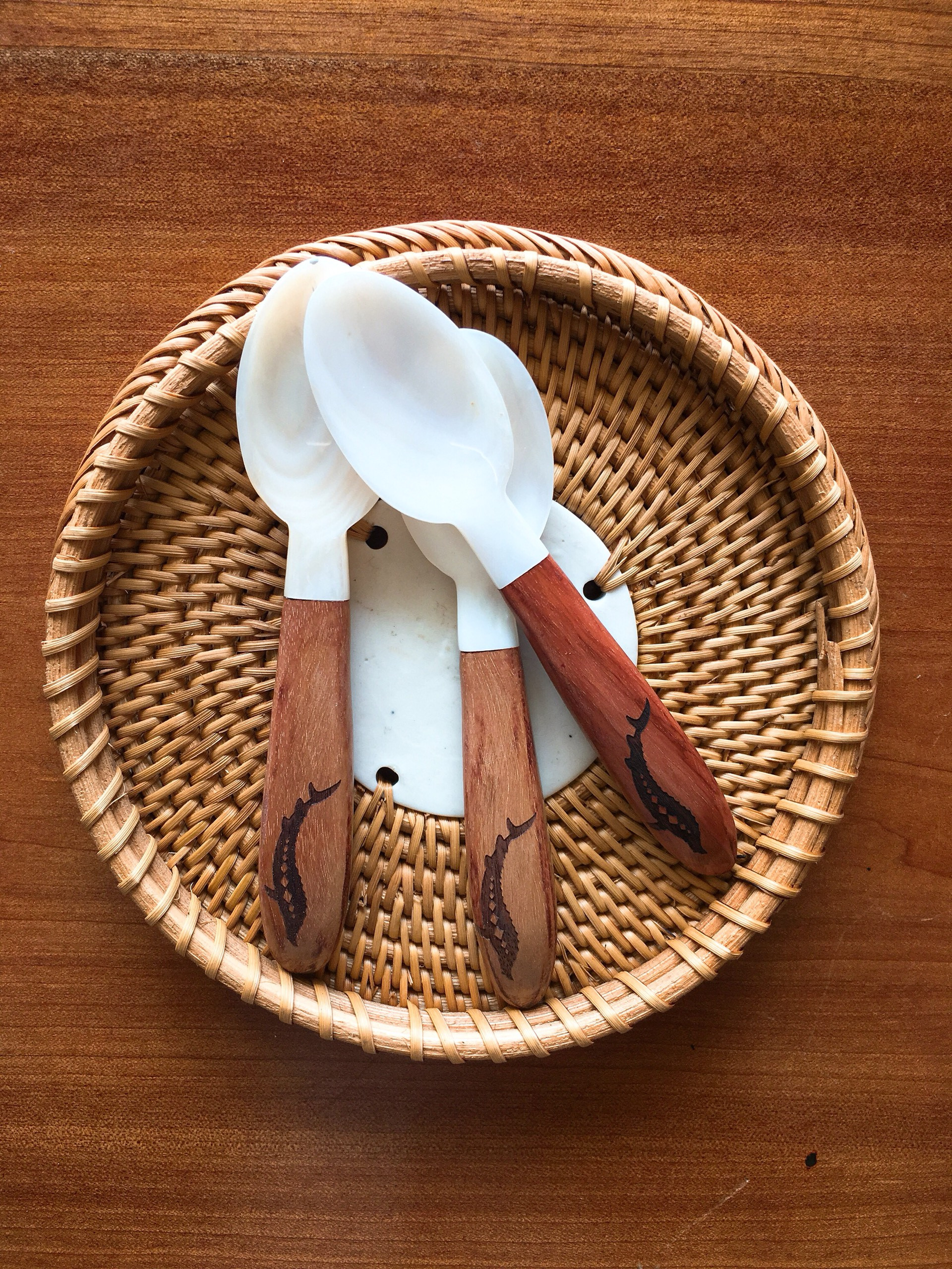 White Mother of pearl spoon with wooden handle, caviar spoon CS62