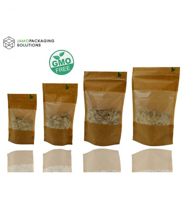 Window Fully Biodegradable Stand Up Pouch with Zip Lock