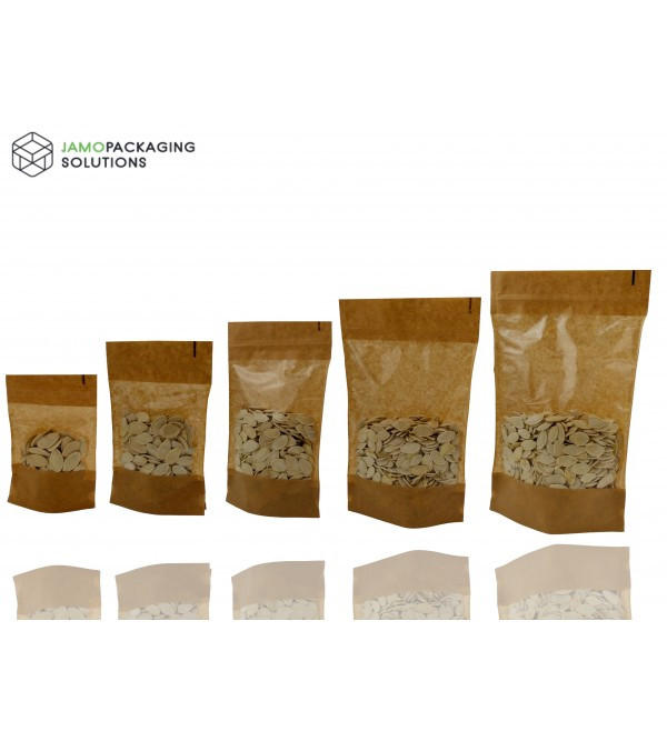 Window Kraft Paper Stand Up Pouch with Zip Lock