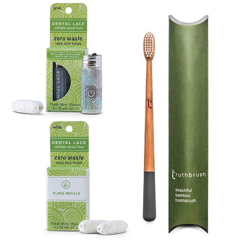 Zero Waste Refillable Silk Floss & Bamboo Toothbrush Bundle