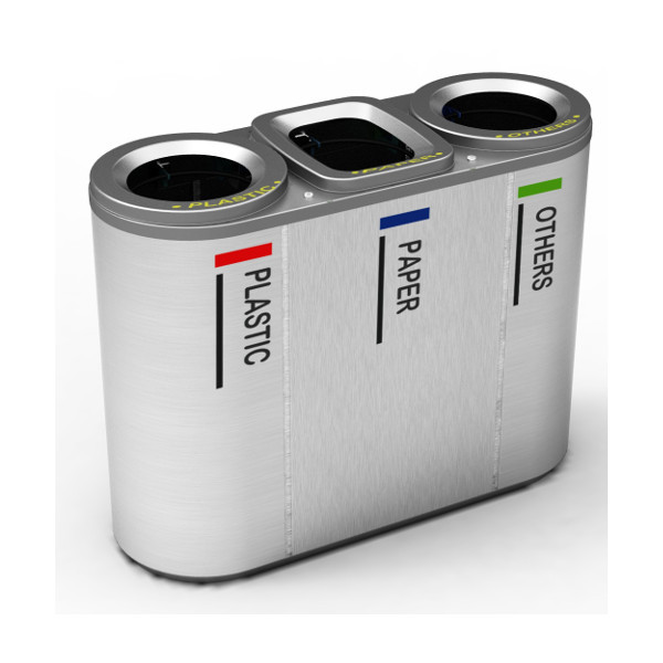 TRES - Recycling Bin - Stainless steel