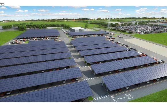 Bentley Motors starts work on UK's largest solar car port