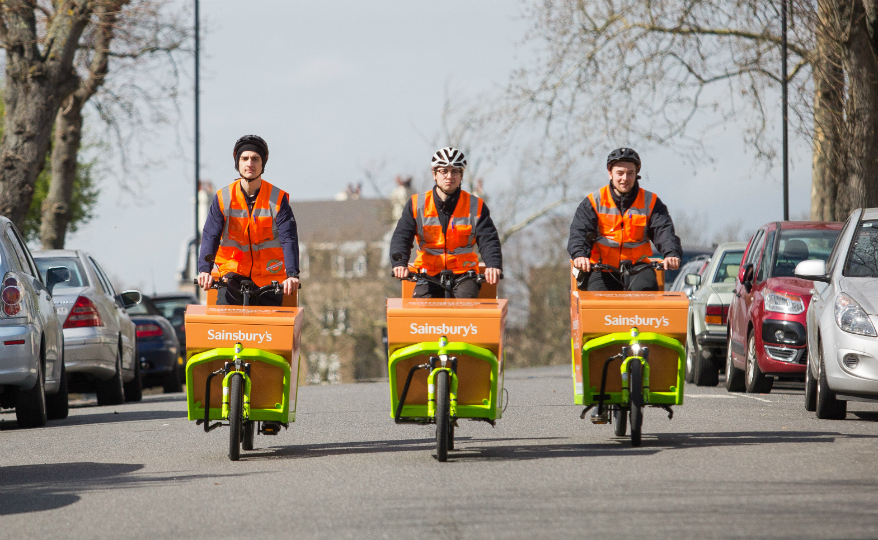 Sainsbury's trials UK's first grocery delivery service by electric cargo bike